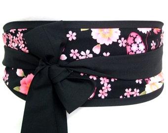 Japan obi belt - cherry blossom fabric black sash belt - waist belt gürtel ceinture