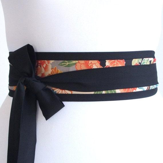 Looby Lou Narrow Obi belt -  Japanese mums flowers