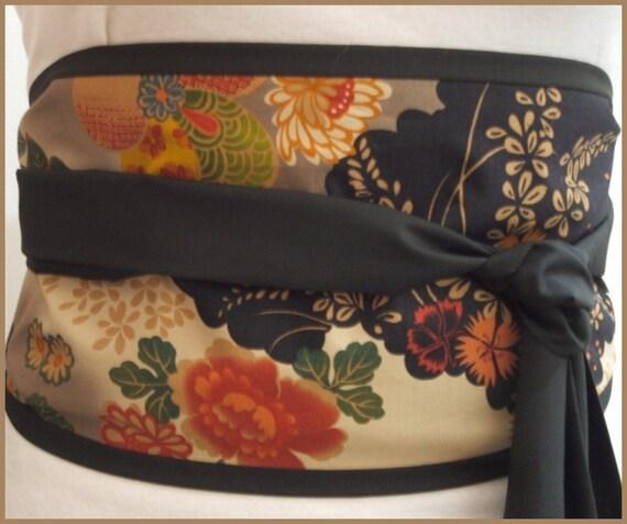 Looby Lou Obi belt - Japanese sakura and misty clouds on black