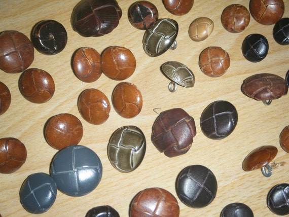 52 vintage WOVEN STYLE buttons. some leather