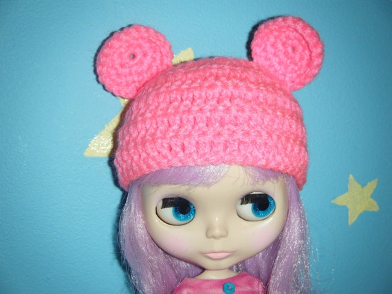HOT PINK teddy ears. larger ears version