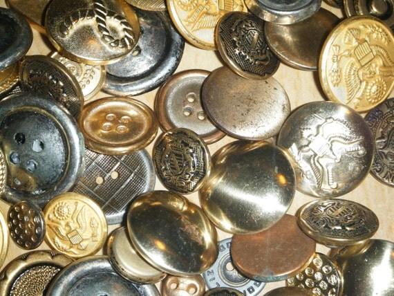65 vintage metal  buttons crests