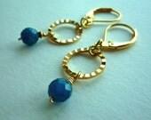 Rippled Loop Earrings - Blue Apatite