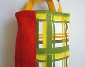 Scarlet Orange Silk and Retro Plaid Tote Bag -- Reversible (SALE)