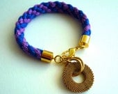 Entwined Rope Bracelet with Charm -- Cobalt and Purple