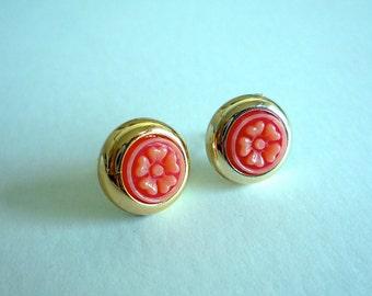 Blossom Stud Earrings - Coral