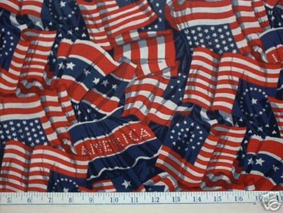 Old Glory Quilt Fabric Us American Flag Patriotic By
