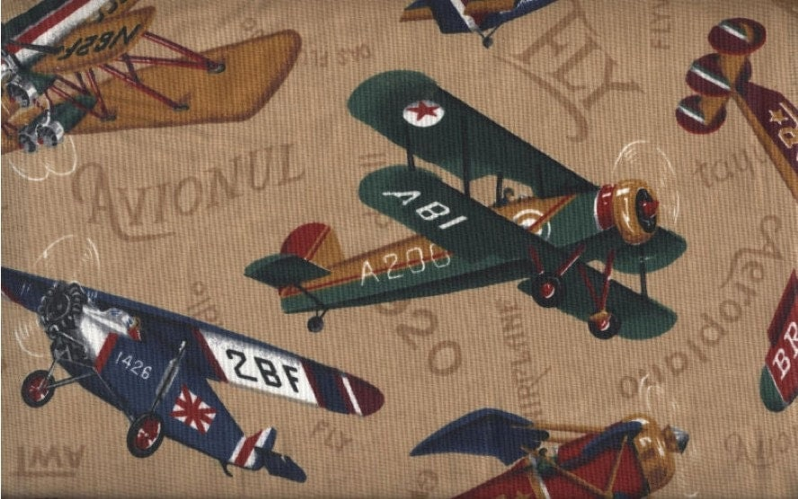 Vintage airplane fabric antique aircraft flying machines for Airplane print cotton fabric