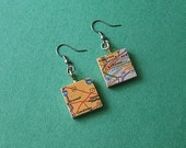 Recycled Map Atlas and wooden scabble tile Earrings