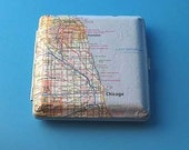 custom Recycled Map (atlas) Wallet - Frame - Cigarette Holder - Business Card Holder