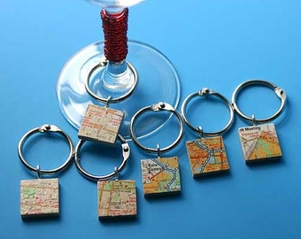 Recycled Map Wine Charms Custom or Personalized--set of 4
