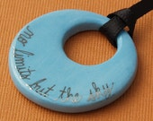 Small Round Ceramic Pendant - No Limits but the Sky