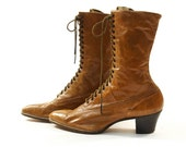 sz 6.5 / 7 Authentic Victorian Lace Up Granny Boots in Nut Brown Leather Wearable Antique