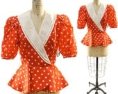 SALE 80's Red and White Polka Dot Peplum Blouse with Huge Sheer Collar