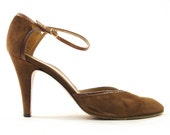 SALE 70s Ankle Strap Pumps in Chocolate Brown Suede / Women's sz 10