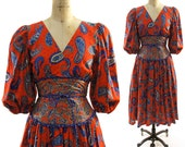 70s Paisley Dress with Dirndyl Skirt & Puff Sleeves