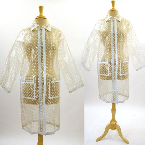Vintage 80 S Polka Dot Clear Vinyl Raincoat