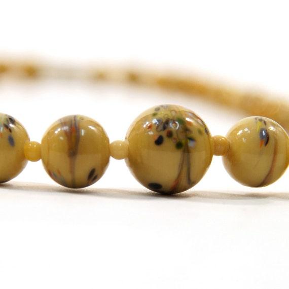 Glass Millefiore Graduated Bead Necklace in Creme de Leche