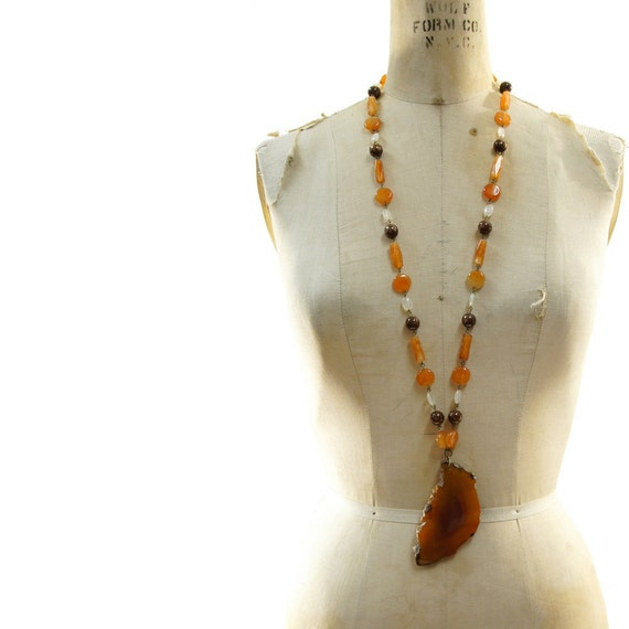 Agate Slice Necklace with Long Beaded Agate Chain vintage 70's
