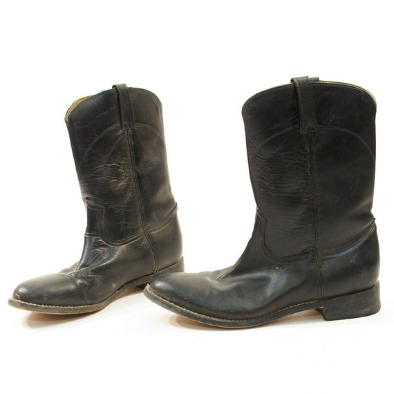 cowboy beatle boots in black leather low top mid calf