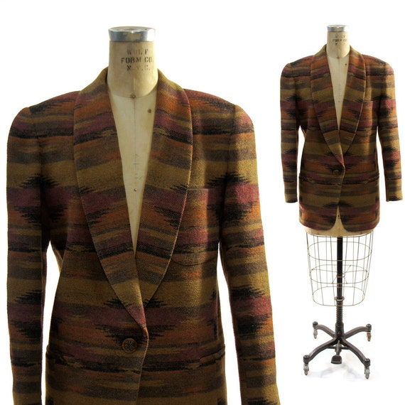 Southwest Blanket Blazer in Warm Desert Striped Wool vintage 80's / 90's