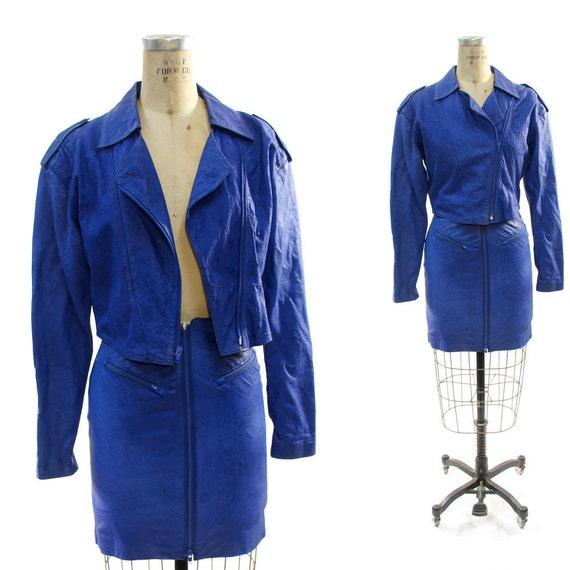 SALE Leather Suit in Royal Blue vintage 1980's Avant Garde