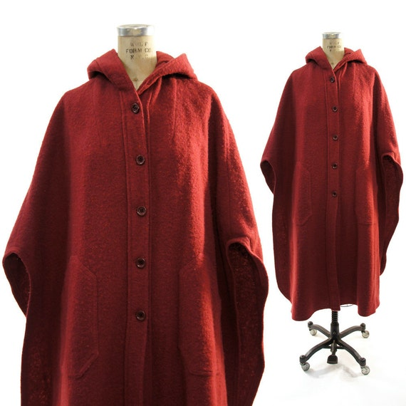 SALE 70s Cranberry Wool Button Up Poncho with Hood