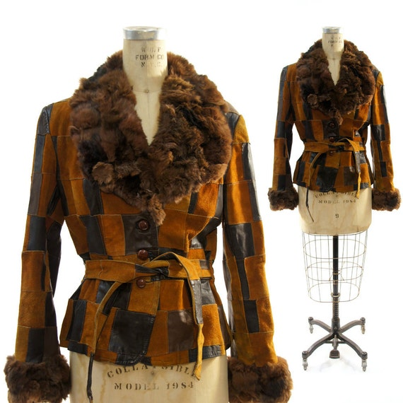 70 S Patchwork Leather Jacket With Fur Collar