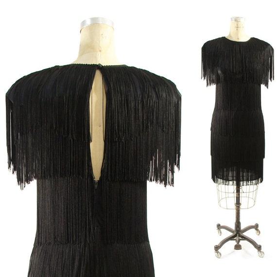 80s Fringe Flapper Dress with Keyhole Peekaboo Back in Jet Black