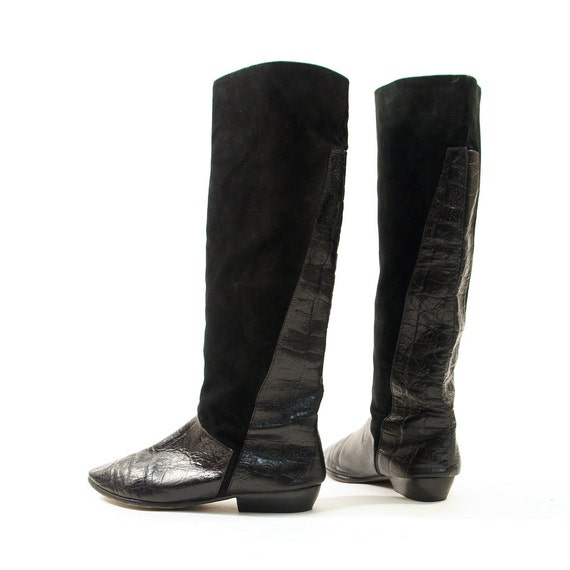 80s Scrunchy Suede & Reptile Knee High Boots with Flat Heel / sz 8.5