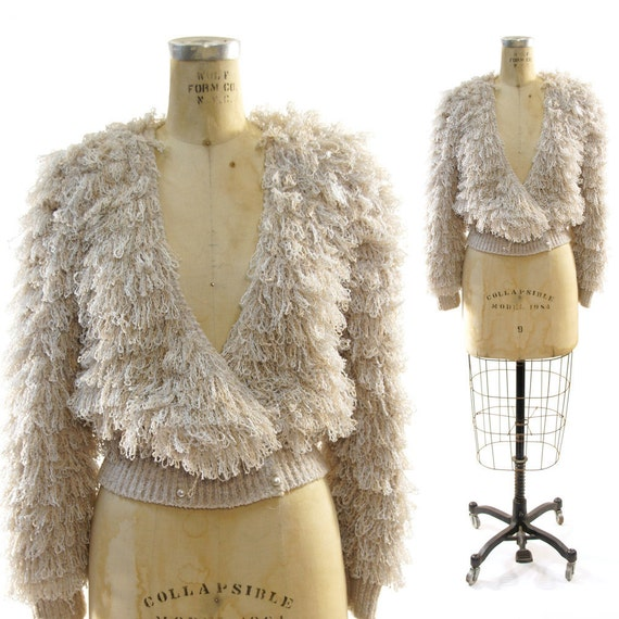 Knitting Pattern For Ladies Loopy Cardigan : 80s Shaggy Loopy Cardigan Fringe Sweater in Champagne Gray