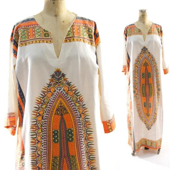 60s Dashiki Maxi Dress in Creme