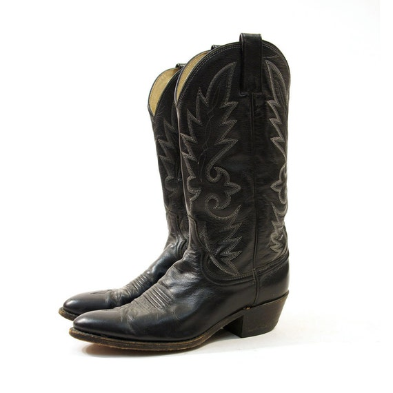 Dan Post Black Leather Cowboy Boots with Fancy Top Stitching / Men's sz 9.5 / Women's 11