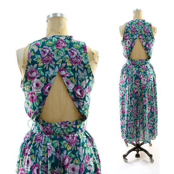 80s Open Back Sundress in Floral Printed Rayon