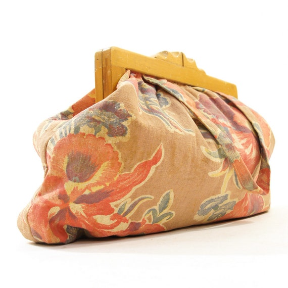 40s Wooden Frame Purse in Floral Printed Linen
