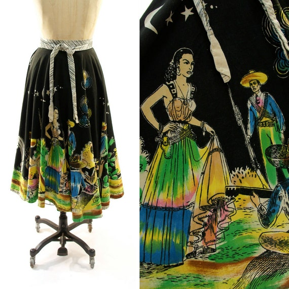 50s Hand Painted Mexican Circle Skirt