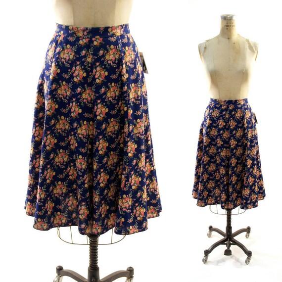 70s Dutch Trachten Printed Linen Aline Skirt