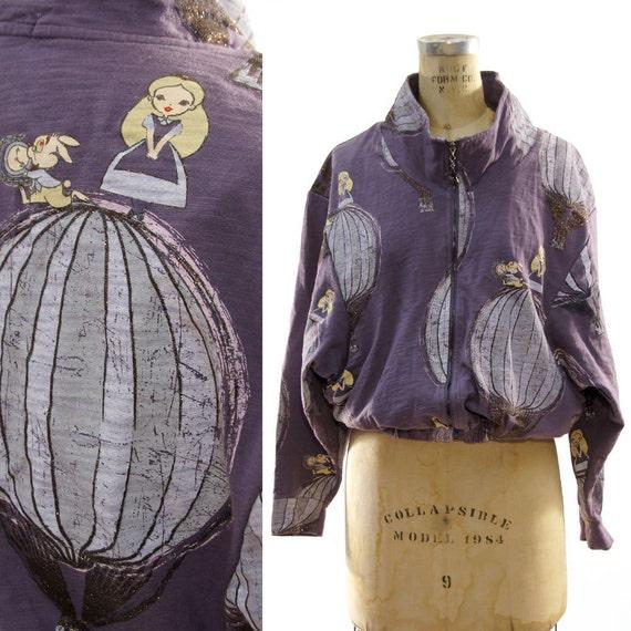 Metallic Alice in Wonderland Batwing Zipper Sweatshirt Jacket