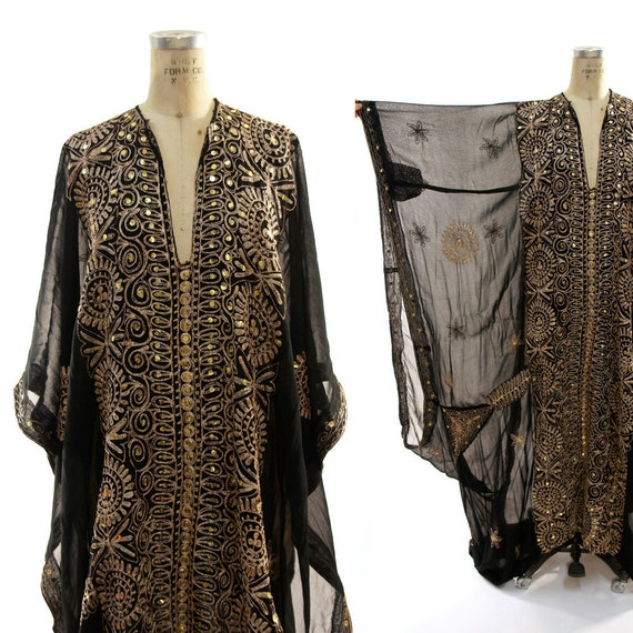 60s Turkish Caftan with Enormous Angel Sleeves and Gold Embroidery