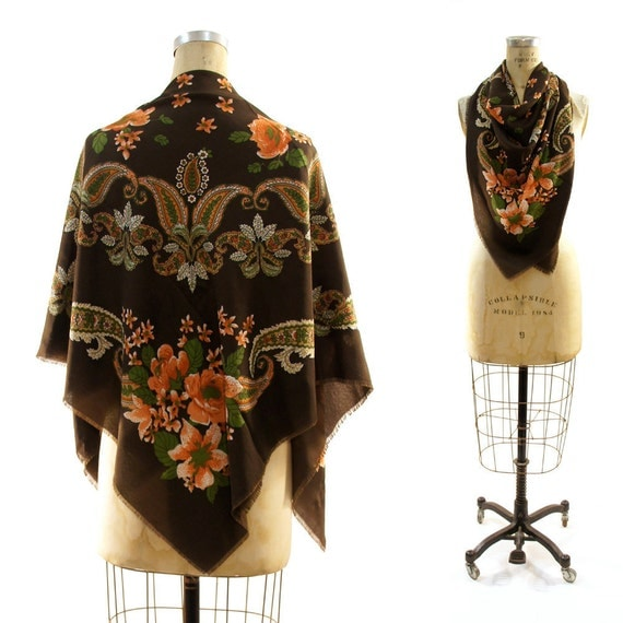80s Raw Edge Square Scarf or Shawl in Chocolate Brown Floral Medallion Motif