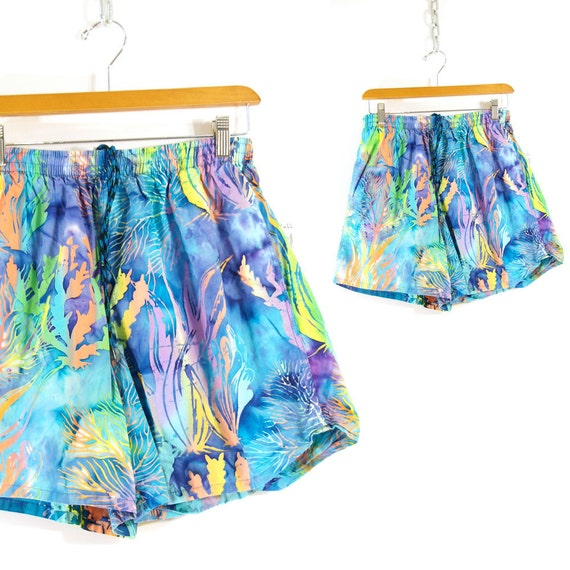 90s Board Shorts in Neon Watercolor Coral Reef Pattern