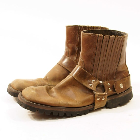 brown leather motorcycle boots with ankle by