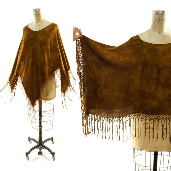 Hand Dyed Silk Poncho with Fringe Trim / Chocolate Tie Dye
