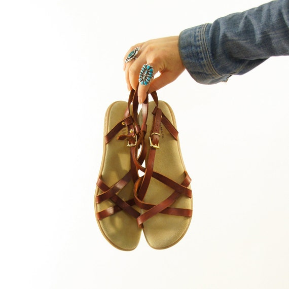 Bass Leather Sandals with Crisscross & Heel Strap / Women's size 10