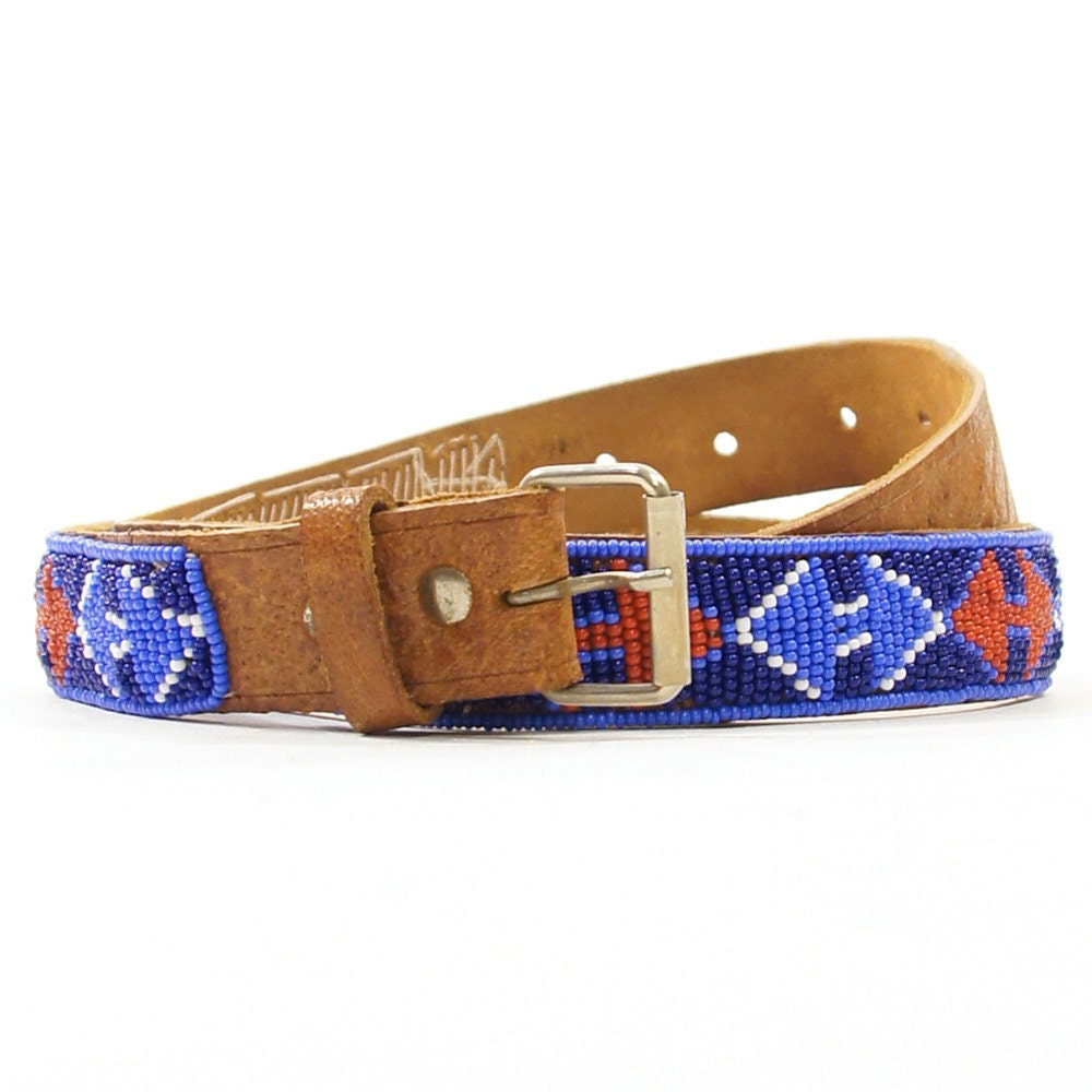 beaded american leather belt 1970 s