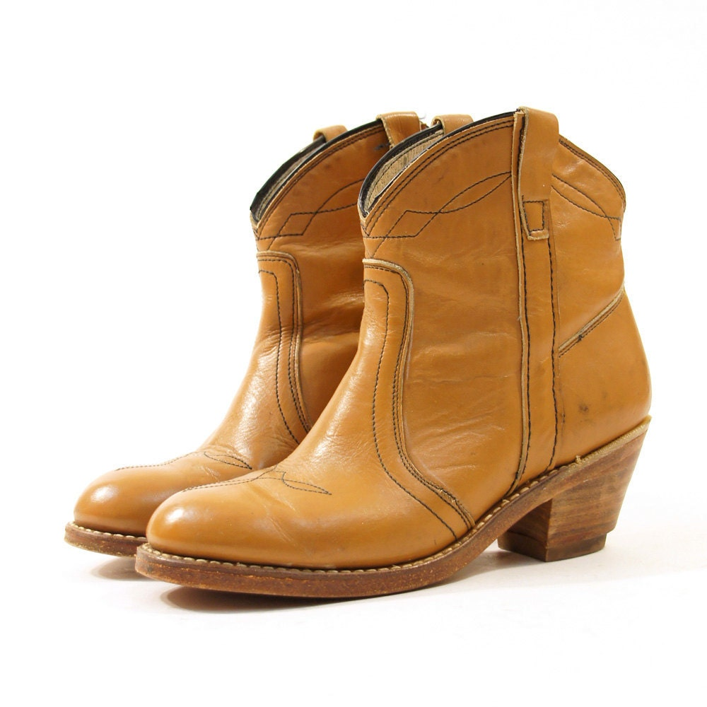 caramel leather ankle cowboy boots s sz by