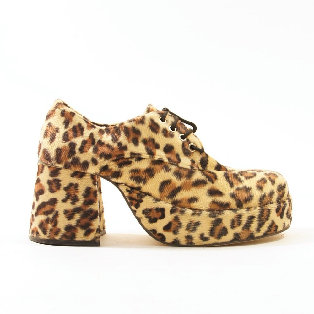 90s cheetah fur platform shoes s sz 12