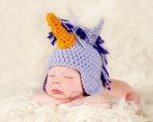 newborn hat photography prop purple unicorn ear flap cap featured in Model Life Magazine