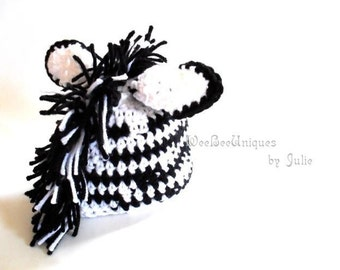 newborn baby zebra hat photography prop animal hat