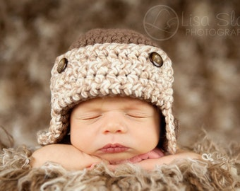 newborn baby boy hat photography prop aviator beanie hat
